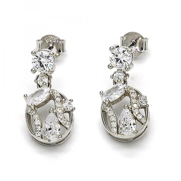 Sterling Silver 02.175.0135 Dangle Earring, with White Cubic Zirconia, Polished Finish, Rhodium Tone