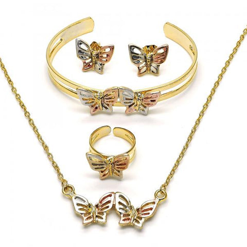 Gold Layered 06.65.0130 Earring and Pendant Children Set, Butterfly Design, Polished Finish, Tri Tone