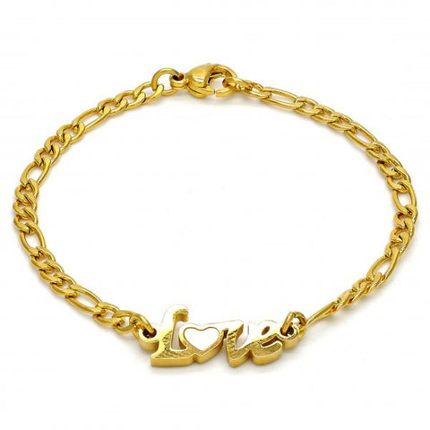 Stainless Steel 03.110.0066.05 Fancy Bracelet, Love Design, White Enamel Finish, Golden Tone