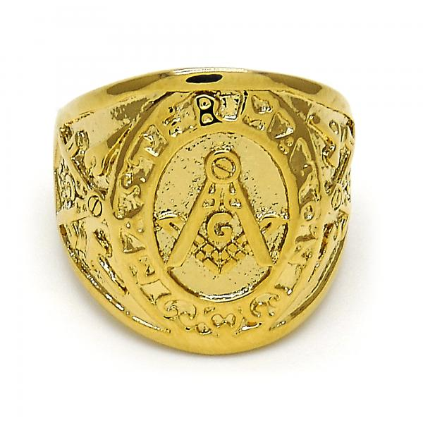 Gold Layered Mens Ring, Golden Tone