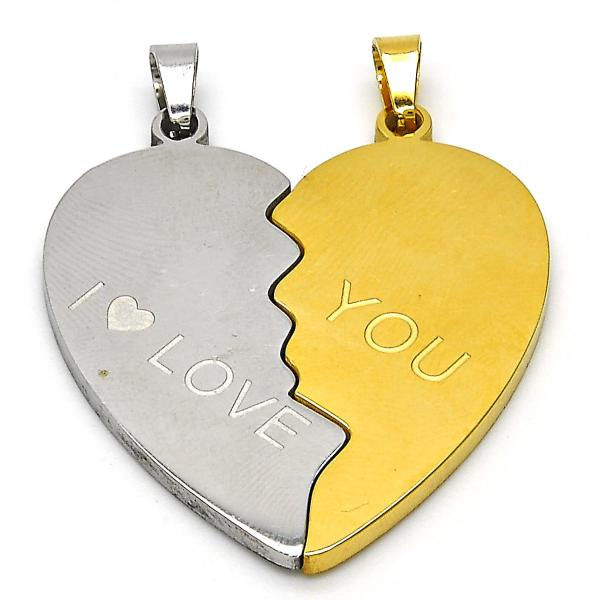 Stainless Steel 05.116.0046 Fancy Pendant, Heart and Love Design, Polished Finish, Two Tone
