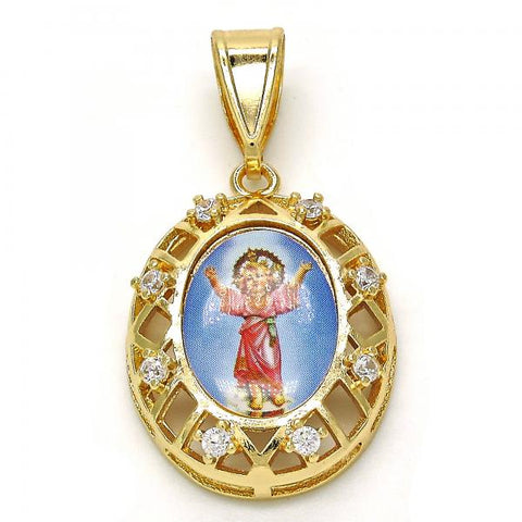 Gold Layered 05.253.0035 Religious Pendant, Divino Niño Design, with White Cubic Zirconia, Polished Finish, Golden Tone
