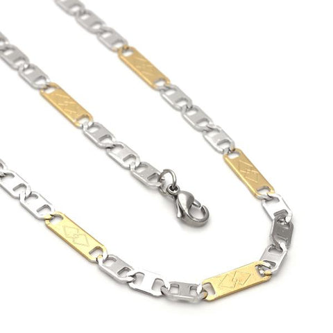 Stainless Steel 04.113.0047.24 Necklace and Bracelet, Mariner Design, Diamond Cutting Finish, Two Tone