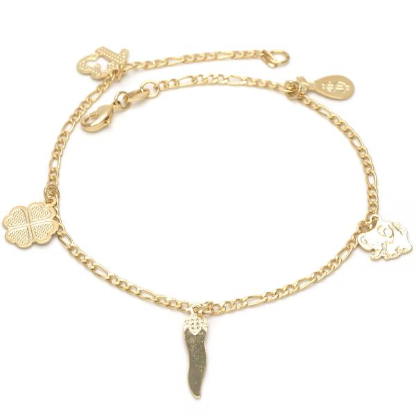 Gold Layered 03.32.0091.10 Charm Anklet , Elephant and Four-leaf Clover Design, Polished Finish, Golden Tone