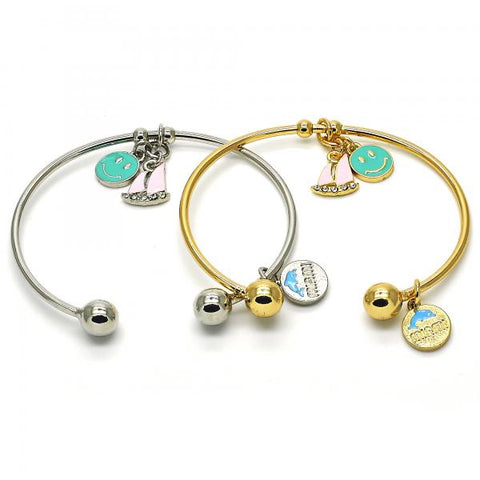 Gold Layered Individual Bangle, Smile and Dolphin Design, with Crystal, Golden Tone