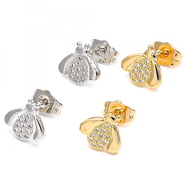 Gold Layered Stud Earring, with Micro Pave, Golden Tone