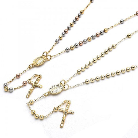 Gold Layered Thin Rosary, Guadalupe and Crucifix Design, Golden Tone