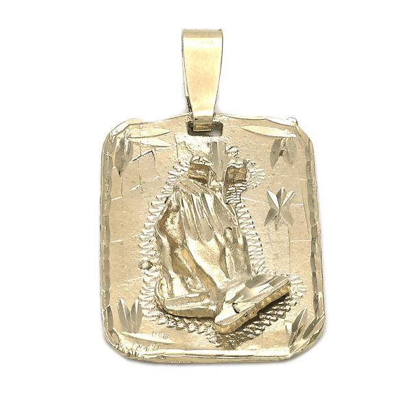 Gold Layered 5.185.015 Religious Pendant, Hand of God Design, Diamond Cutting Finish, Golden Tone