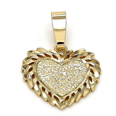 Gold Layered 5.179.025 Fancy Pendant, Heart Design, Diamond Cutting Finish, Golden Tone