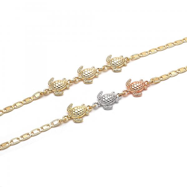 Gold Layered Fancy Anklet, Turtle Design, Golden Tone