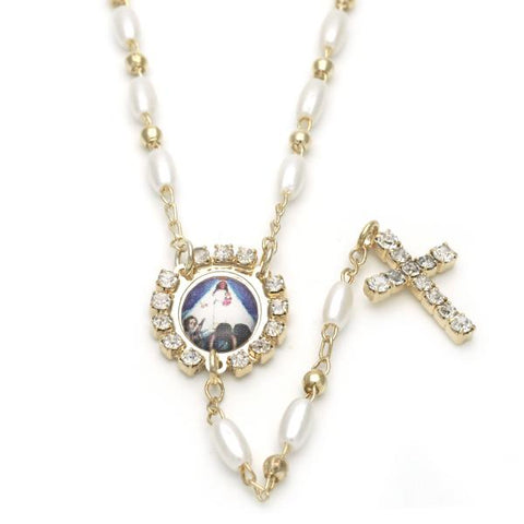 Gold Layered 09.02.0028.18 Thin Rosary, Caridad del Cobre and Cross Design, with Ivory Pearl and White Crystal, Polished Finish, Golden Tone