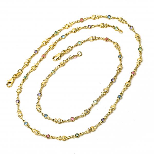 Gold Layered 04.63.1209 Necklace and Anklet, Cat Design, with Multicolor Crystal, Polished Finish, Golden Tone