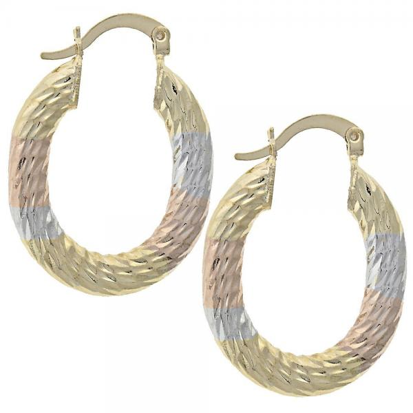 Gold Layered 5.149.035.1 Medium Hoop, Diamond Cutting Finish, Tri Tone