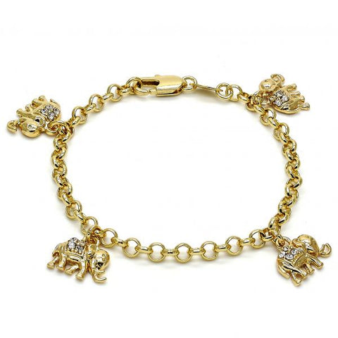 Gold Layered 03.63.1355.06 Charm Bracelet, Elephant and Rolo Design, with White Crystal, Polished Finish, Golden Tone