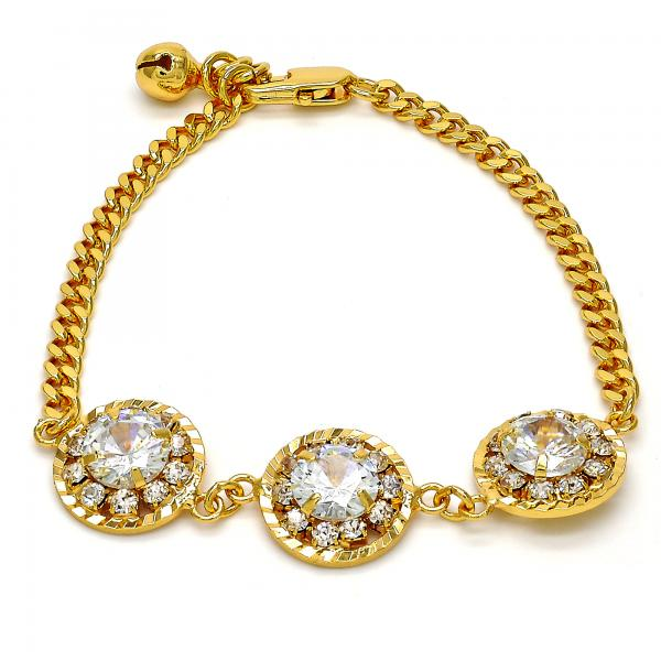 Gold Tone 03.270.0001.07.GT Fancy Bracelet, Flower and Rattle Charm Design, with White Crystal, Polished Finish, Golden Tone