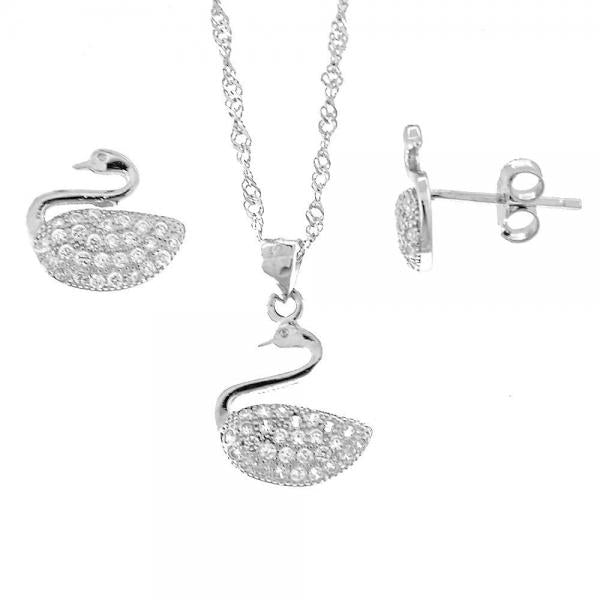 Sterling Silver 10.174.0056 Earring and Pendant Adult Set, Swan Design, with White Micro Pave, Rhodium Tone