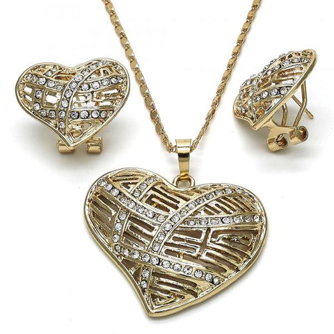Gold Layered 10.306.0009 Earring and Pendant Adult Set, Heart Design, with White Crystal, Polished Finish, Golden Tone