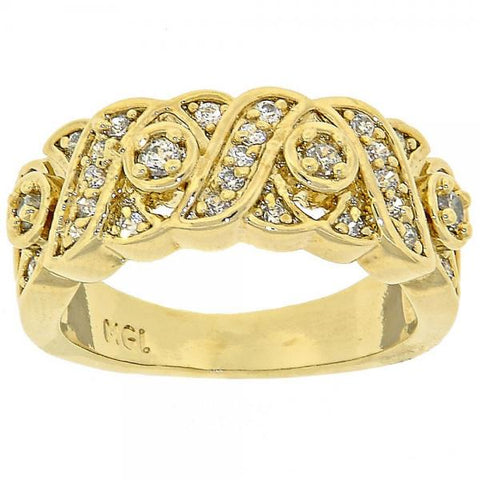 Gold Layered Multi Stone Ring, Hugs and Kisses Design, with Cubic Zirconia, Golden Tone