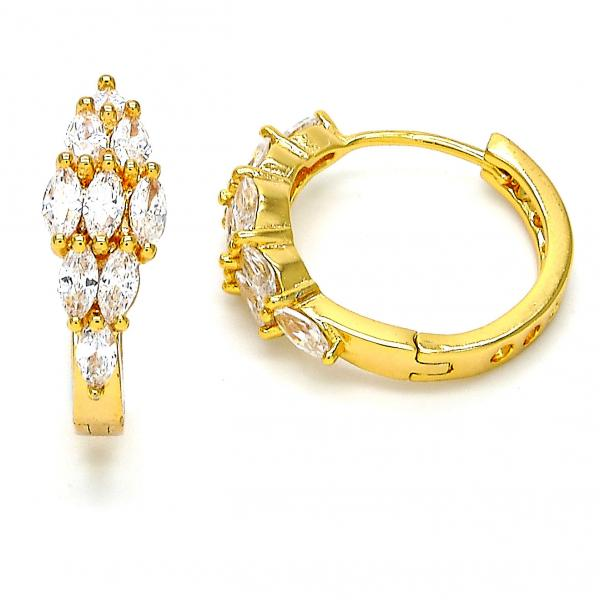 Gold Layered 02.237.0010.20 Huggie Hoop, with White Cubic Zirconia, Polished Finish, Gold Tone