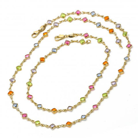 Gold Layered 04.63.1204 Necklace and Anklet, with Multicolor Crystal, Polished Finish, Golden Tone