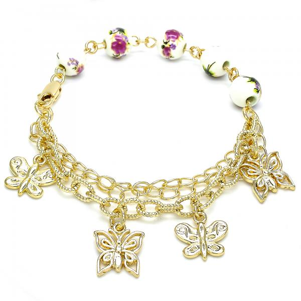 Gold Layered 03.179.0058.07 Charm Bracelet, Butterfly and Flower Design, Polished Finish, Golden Tone