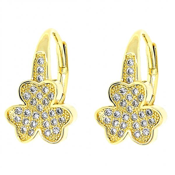 Gold Layered 02.195.0062 Leverback Earring, Flower Design, with White Micro Pave, Polished Finish, Golden Tone
