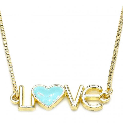 Gold Layered 04.63.1381.20 Fancy Necklace, Love and Heart Design, Turquoise Enamel Finish, Golden Tone