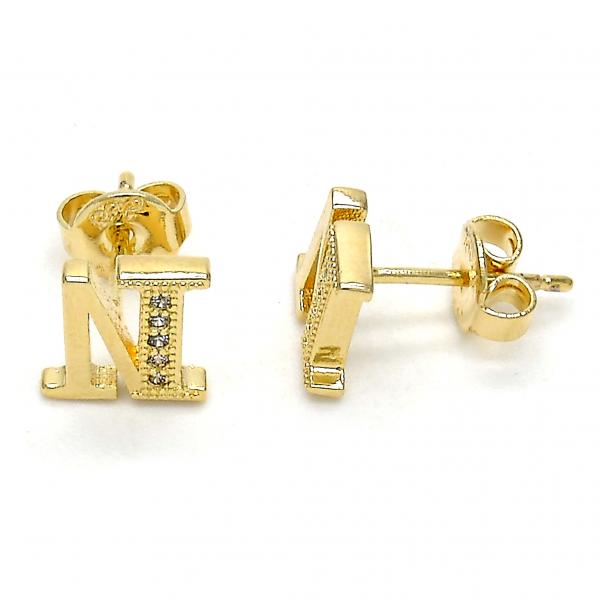 Gold Layered 02.156.0196 Stud Earring, with White Micro Pave, Polished Finish, Golden Tone