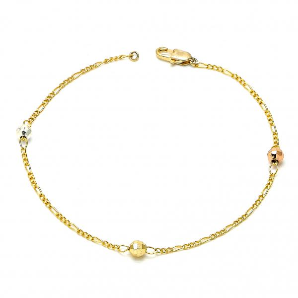 Gold Plated 03.08.0131.08 Fancy Bracelet, Ball Design, Polished Finish, Tri Tone