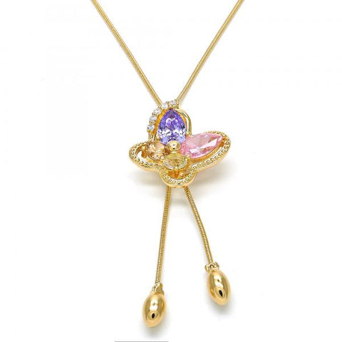 Gold Layered 04.26.0039.22 Fancy Necklace, Butterfly Design, with Multicolor Cubic Zirconia, Polished Finish, Golden Tone