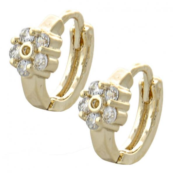 Gold Layered 02.155.0052 Huggie Hoop, Flower Design, with White Cubic Zirconia, Polished Finish, Golden Tone