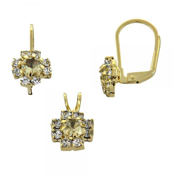 Gold Layered 5.058.010 Earring and Pendant Adult Set, Flower Design, with  Cubic Zirconia, Golden Tone