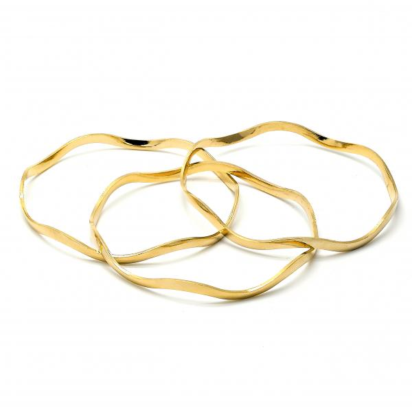 Gold Plated 03.08.0059.05 Trio Bangle, Polished Finish, Golden Tone (10 MM Thickness, Size 5 - 2.50 Diameter)