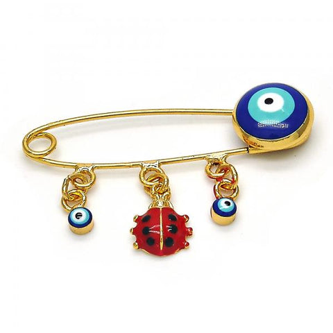 Gold Layered 13.60.0002 Basic Brooche, Ladybug and Greek Eye Design, Red Enamel Finish, Golden Tone