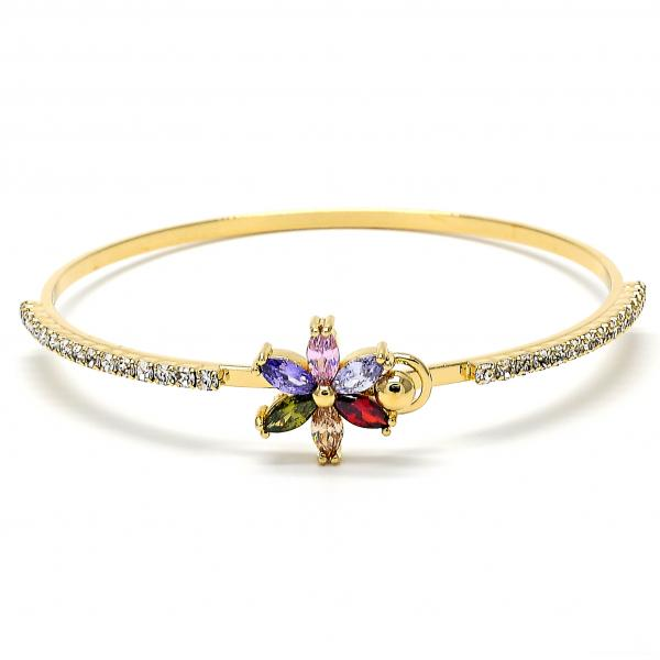 Gold Layered 07.97.0046 Individual Bangle, Flower Design, with Multicolor and White Cubic Zirconia, Polished Finish, Golden Tone (03 MM Thickness, Size 5 - 2.50 Diameter)