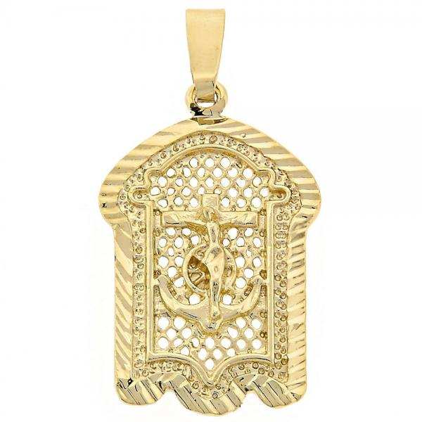 Gold Layered 5.186.018 Religious Pendant, Crucifix Design, Diamond Cutting Finish, Golden Tone