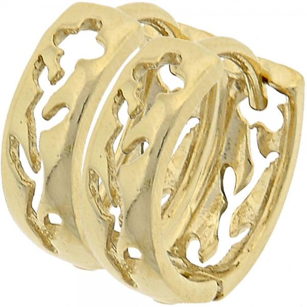 Gold Layered 5.133.021 Huggie Hoop, Flower Design, Polished Finish, Golden Tone