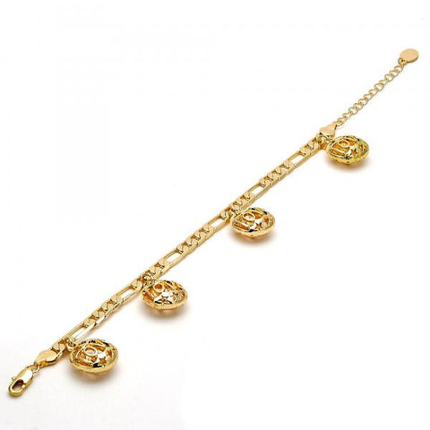 Gold Tone 03.63.1742.08.GT Charm Bracelet, Love and Star Design, Polished Finish, Golden Tone