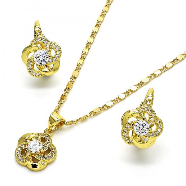 Gold Layered 10.195.0002 Earring and Pendant Adult Set, Flower Design, with White Cubic Zirconia and White Micro Pave, Polished Finish, Golden Tone