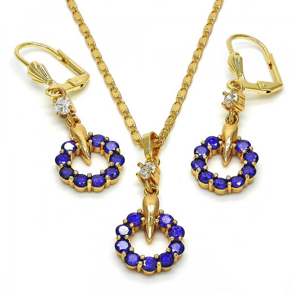 Gold Layered 10.236.0032 Necklace and Earring, with Amethyst and White Cubic Zirconia, Polished Finish, Golden Tone
