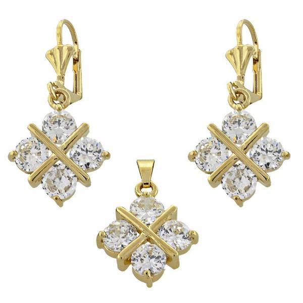 Gold Layered 10.63.0322 Earring and Pendant Adult Set, with White Cubic Zirconia, Golden Tone