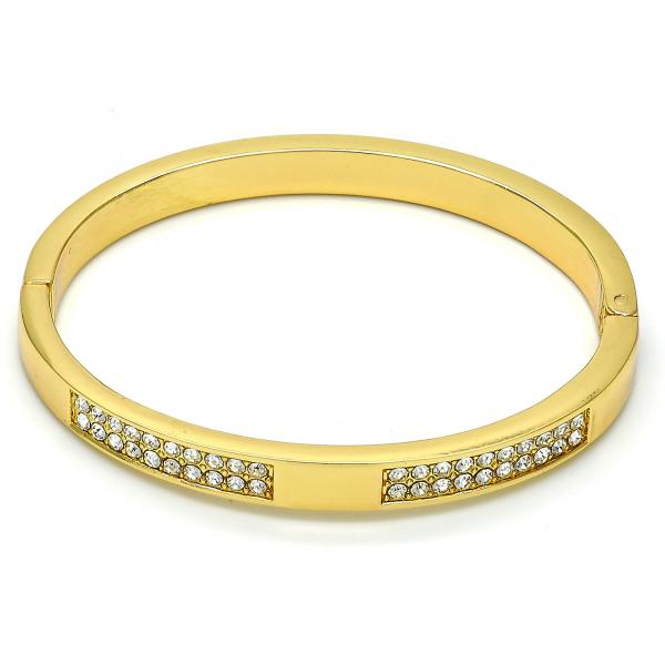 Gold Tone 07.252.0027.05.GT Individual Bangle, with White Crystal, Polished Finish, Golden Tone (07 MM Thickness, Size 5 - 2.50 Diameter)