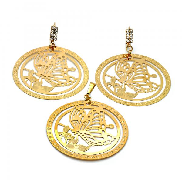 Gold Layered 10.63.0307 Earring and Pendant Adult Set, Butterfly Design, with White Cubic Zirconia, Polished Finish, Golden Tone