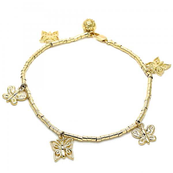 Gold Layered 03.179.0062.10 Charm Anklet , Butterfly Design, Polished Finish, Golden Tone