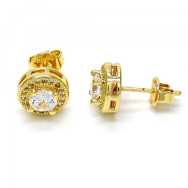 Gold Layered 02.195.0040 Stud Earring, with White Micro Pave and White Cubic Zirconia, Polished Finish, Golden Tone