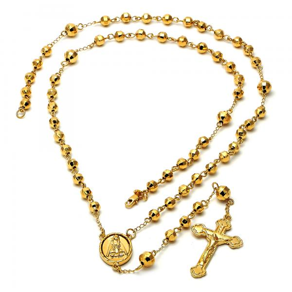 Gold Layered 5.202.003.30 Large Rosary, Crucifix and Altagracia Design, Diamond Cutting Finish, Golden Tone