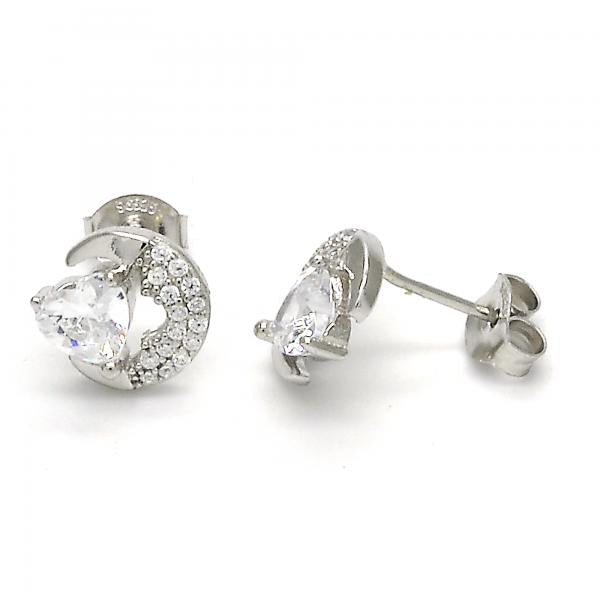 Sterling Silver 02.285.0038 Stud Earring, Heart Design, with White Cubic Zirconia, Polished Finish,
