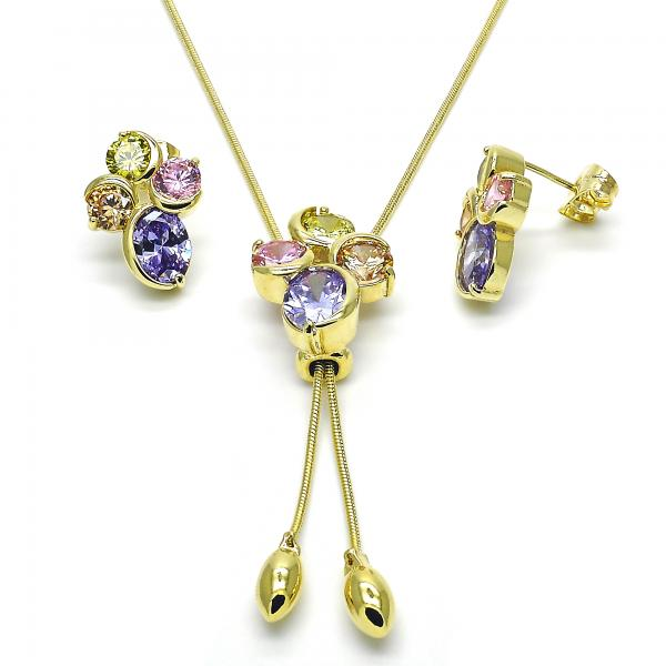 Gold Layered 10.26.0006 Earring and Pendant Adult Set, with Multicolor Cubic Zirconia, Polished Finish, Golden Tone