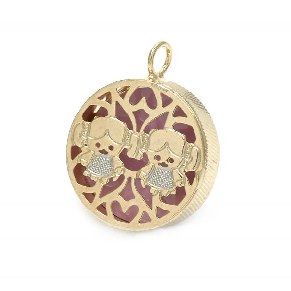 Gold Layered 05.09.0059 Fancy Pendant, Little Girl and Filigree Design, Pink Enamel Finish, Two Tone