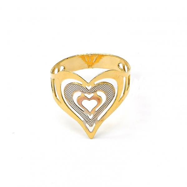 Gold Layered Elegant Ring, Heart and Love Design, Tri Tone